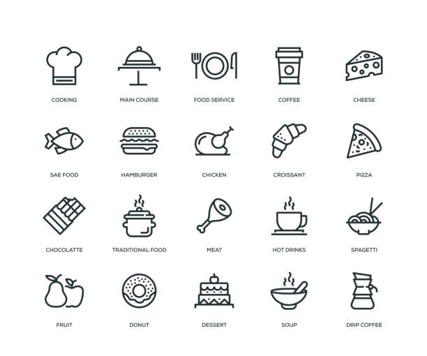 stockillustraties, clipart, cartoons en iconen met eten en drinken icons - line serie - meat pan