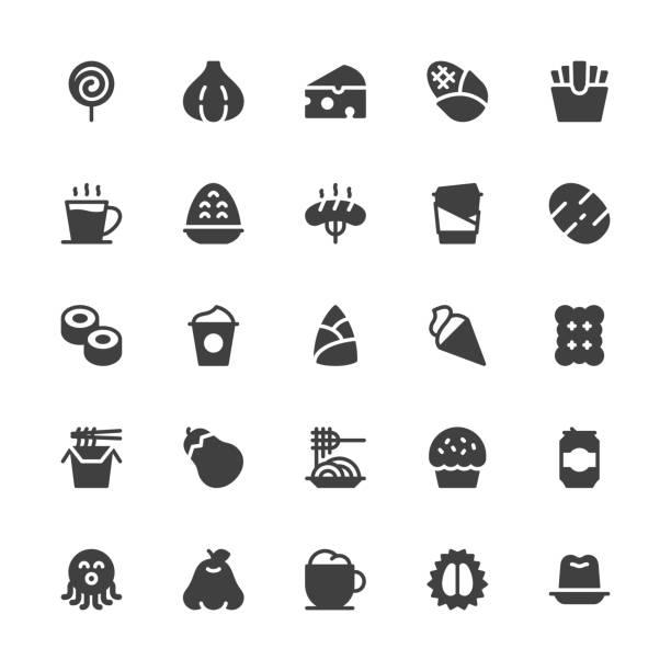 essen und trinken icons set 3 - graue serie - wackelpuddingkekse stock-grafiken, -clipart, -cartoons und -symbole