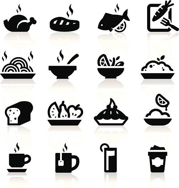 essen und trinken-icons set elegante serie - frühstücksservice stock-grafiken, -clipart, -cartoons und -symbole