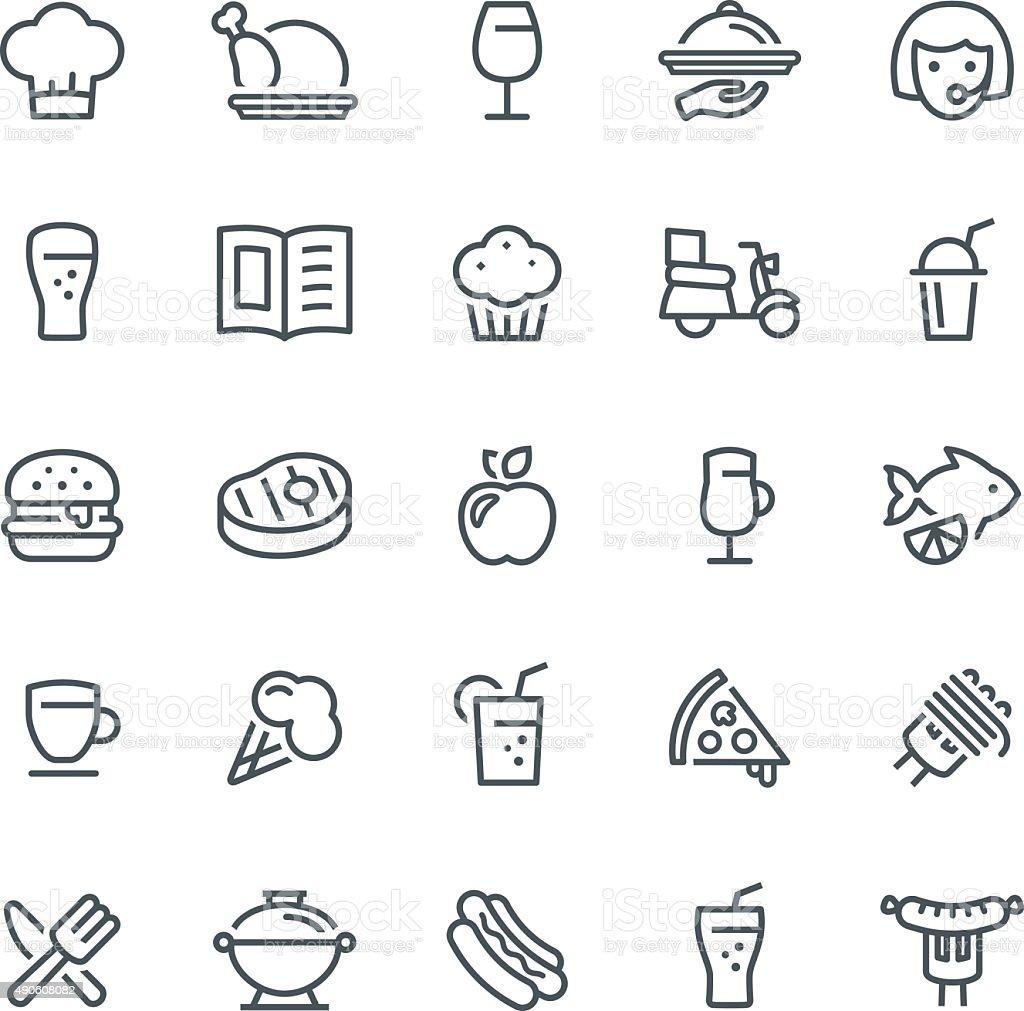 Ícones de comida e bebida - ilustração de arte em vetor