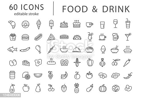 Food and drink - line icon set with editable stroke.
