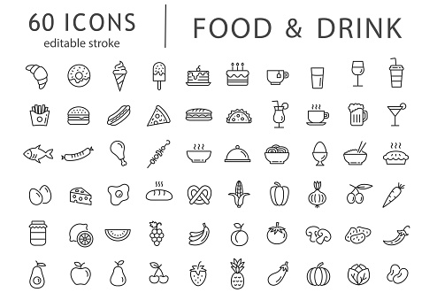 Food and drink - line icon set with editable stroke. Outline collection of 60 symbols. Restaurant menu icons. Vector illustration.