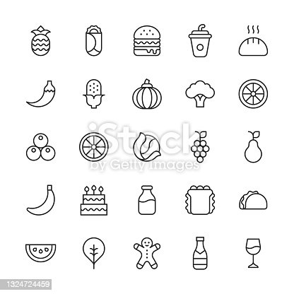 istock Food and Drink Line Icons. Editable Stroke. Contains such icons as Bakery, Cake, Champagne, Cheeseburger, Cooking, Diet, Food Delivery, Fruit, Lemon, Milk, Orange, Pepper, Salad, Spinach, Takeout, Vegan, Vegetable, Vegetarian, Watermelon, Wine. 1324724459