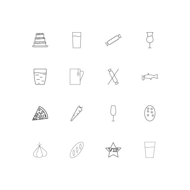 Food And Drink linear thin icons set. Outlined simple vector icons vector art illustration