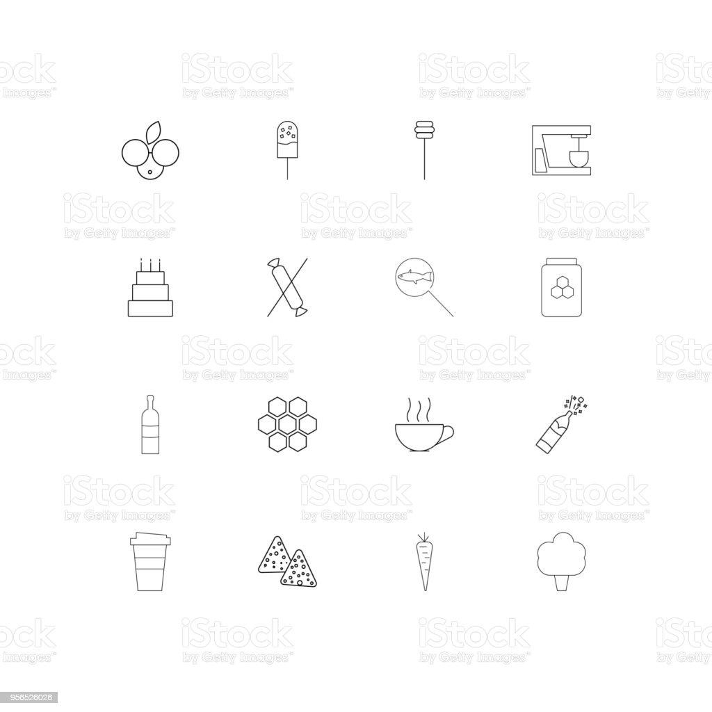 Essen und trinken lineare dünne Symbole festgelegt. Beschriebenen einfachen Vektor-icons - Lizenzfrei Amerikanische Heidelbeere Vektorgrafik