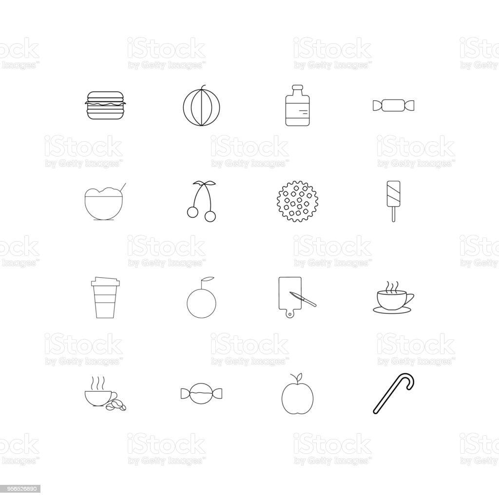 Essen und trinken lineare dünne Symbole festgelegt. Beschriebenen einfachen Vektor-icons - Lizenzfrei Aserbaidschan Vektorgrafik