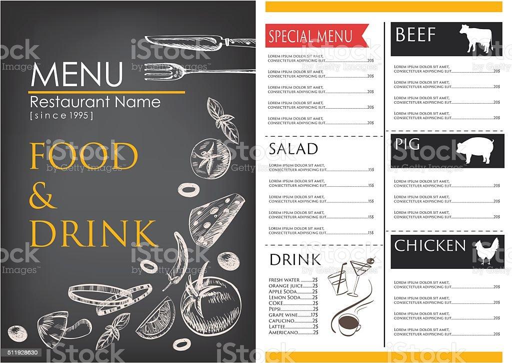 Speisen Und Getränke Zeichnen Restaurant Broschüre Designvorlage ...