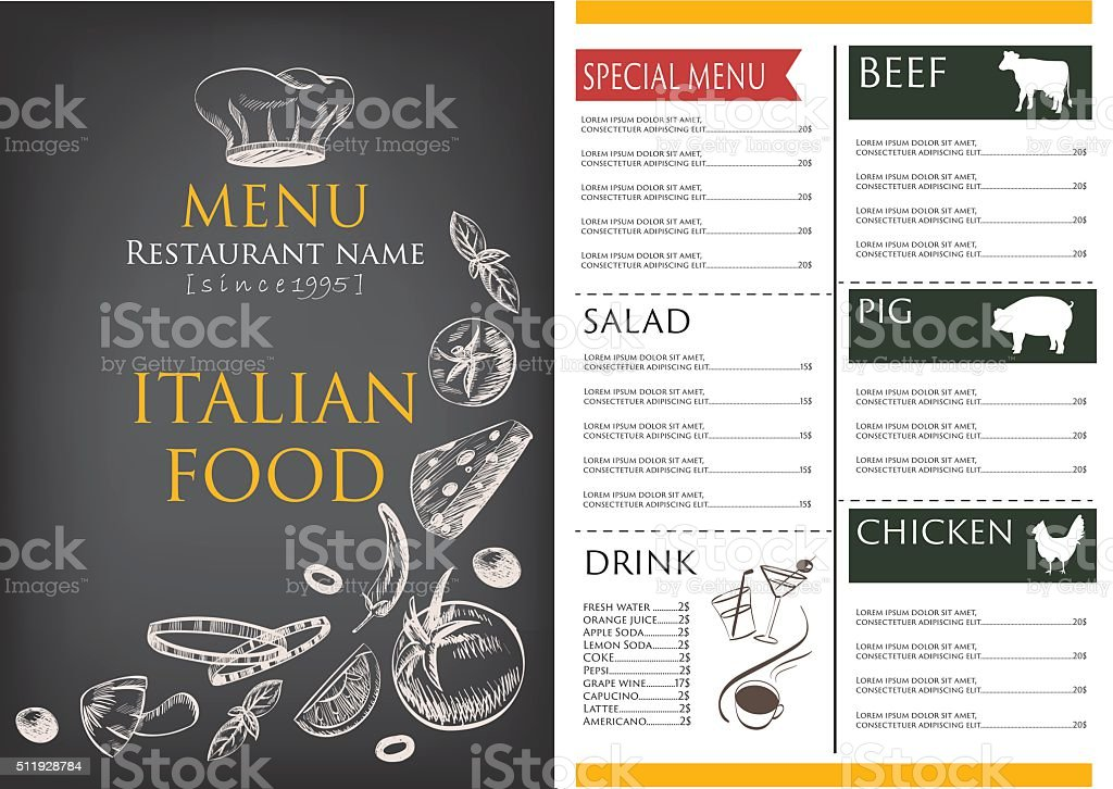 Food And Drink Menu Draw Restaurant Brochure Design Template Stock
