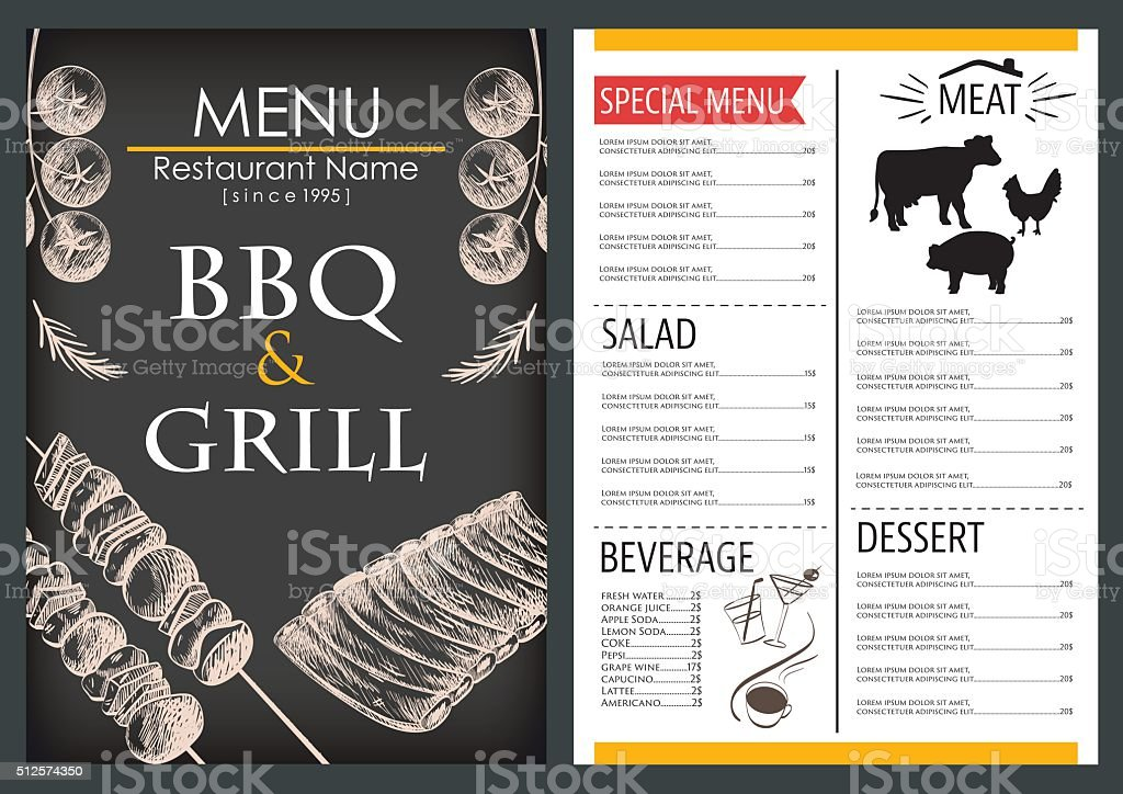 Food and drink menu draw restaurant brochure design