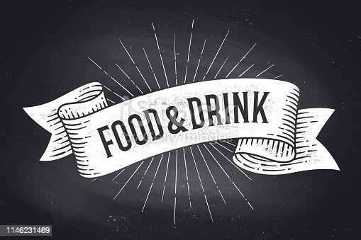 istock Food and Drink. Old school vintage ribbon banner 1146231469