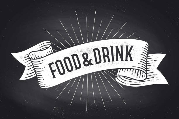 Food and Drink. Old school vintage ribbon banner Food and Drink. Old school vintage ribbon banner with text Food and Drink. Black-white chalk graphic design on chalkboard. Poster for menu, bar, pub, restaurant, cafe, food court. Vector Illustration old fashioned stock illustrations