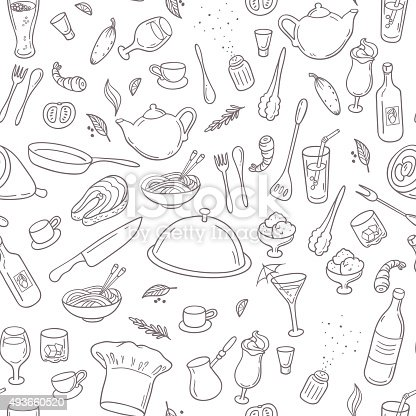 istock Food and drink outline seamless pattern. Hand drawn kitchen background 493660520