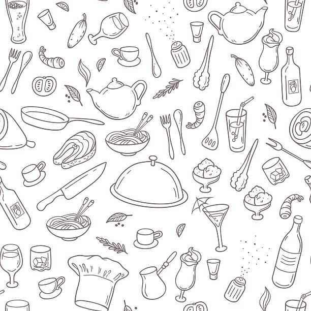 Food and drink outline seamless pattern. Hand drawn kitchen background Food and drink outline seamless pattern. Hand drawn kitchen background in black and white. Vector illustration cooking drawings stock illustrations