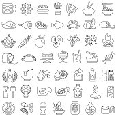 Food and drink single color black outlines icon set. Isolated.