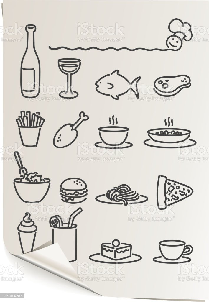 food and drink papers royalty-free stock vector art