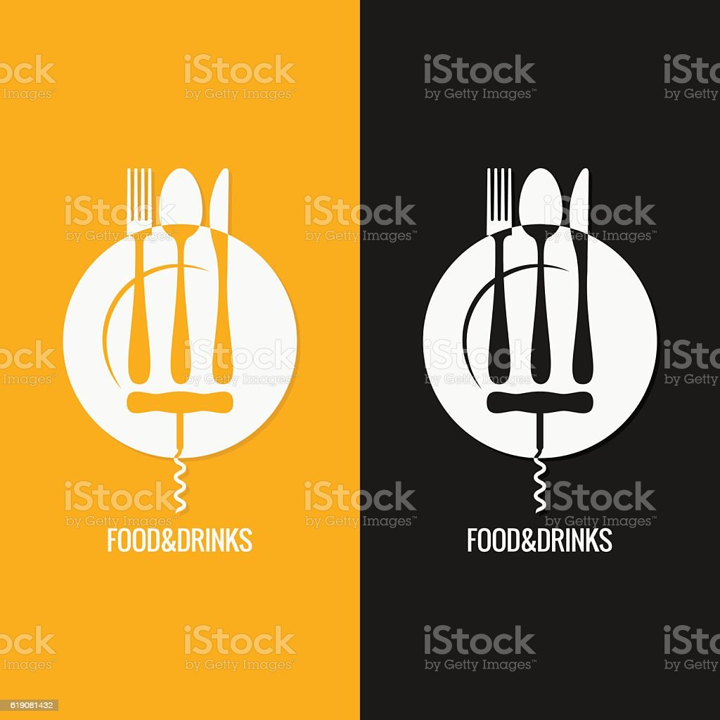 Food And Drink . Plate Fork Knife Spoon – Vektorgrafik