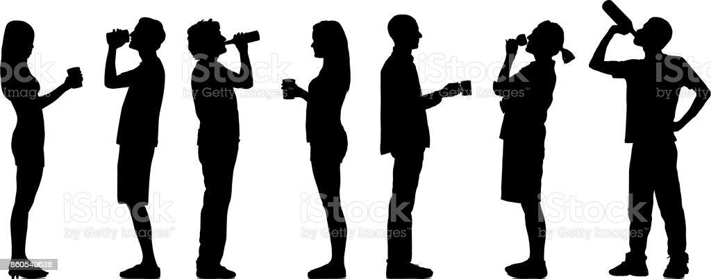 Comida e bebida silhuetas - ilustração de arte em vetor