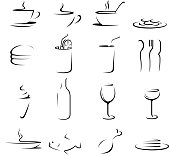 drawing of vector food and drink symbols.