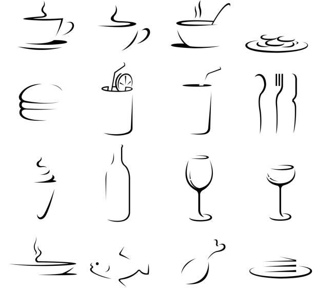 essen und trinken symbole - fischglas stock-grafiken, -clipart, -cartoons und -symbole