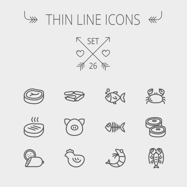 bildbanksillustrationer, clip art samt tecknat material och ikoner med mat och dryck tunn linje ikonuppsättning - loin