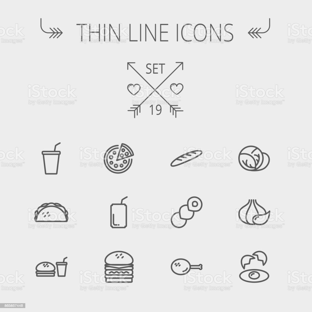 Food and drink thin line icon vector art illustration