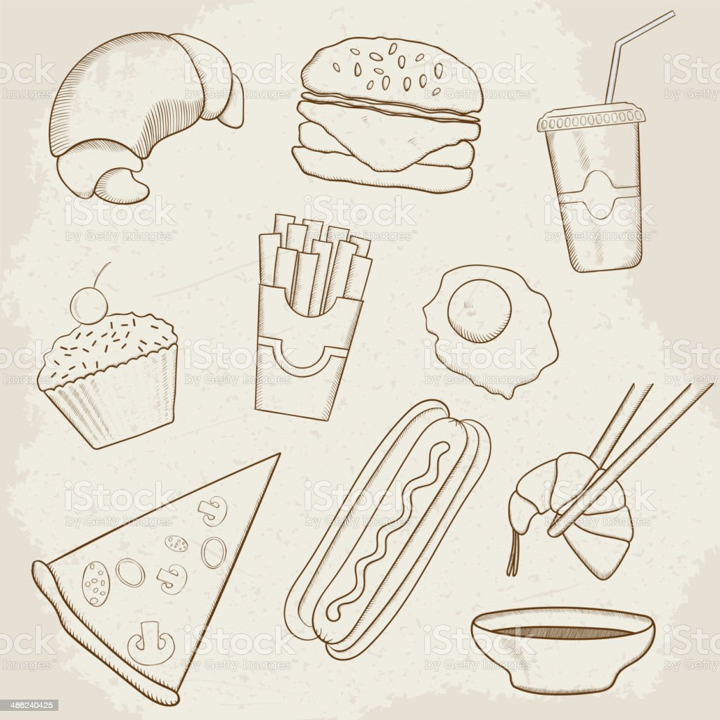 Food and Drink Vector Hand Drawn Icons royalty-free stock vector art