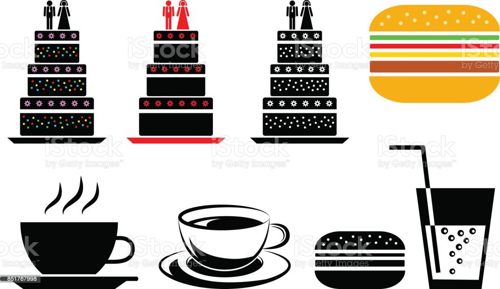 Food and drink vector icons on white background