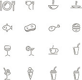 drawn of vector food and drink icons.This file has been used illustrator CS3 EPS10 version feature of multiply.