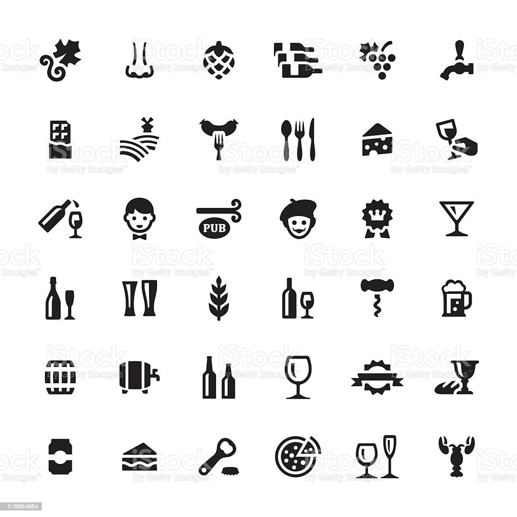 Food and Drink vector symbols and icons vector art illustration