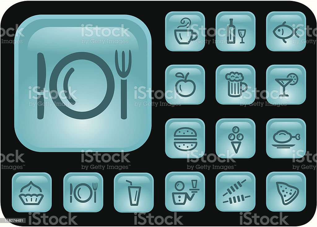 Food and drinks buttons royalty-free stock vector art