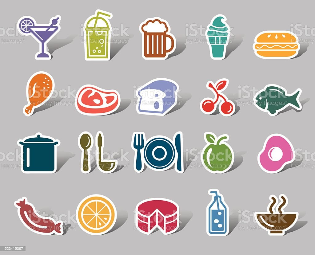 Food and Drinks Color Icon Label vector art illustration