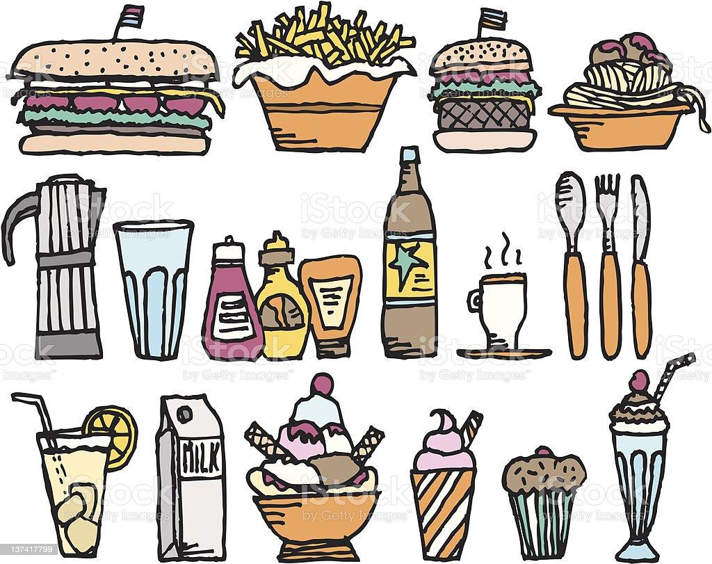 Food and drinks / Color restaurant stuff vector art illustration