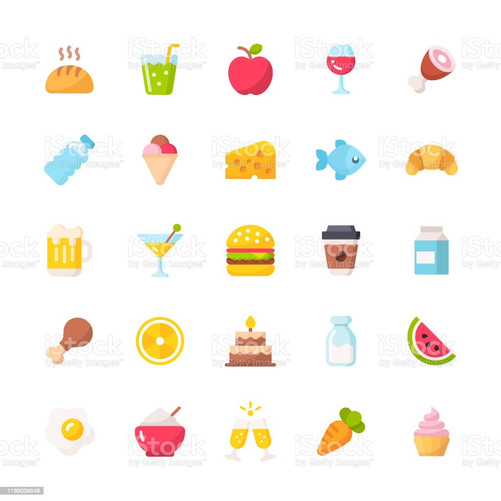 Food And Drinks Flat Icons Material Design Icons Pixel