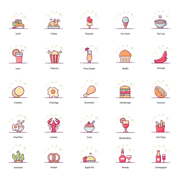 food and drinks flat icons pack - burger and chicken stock illustrations