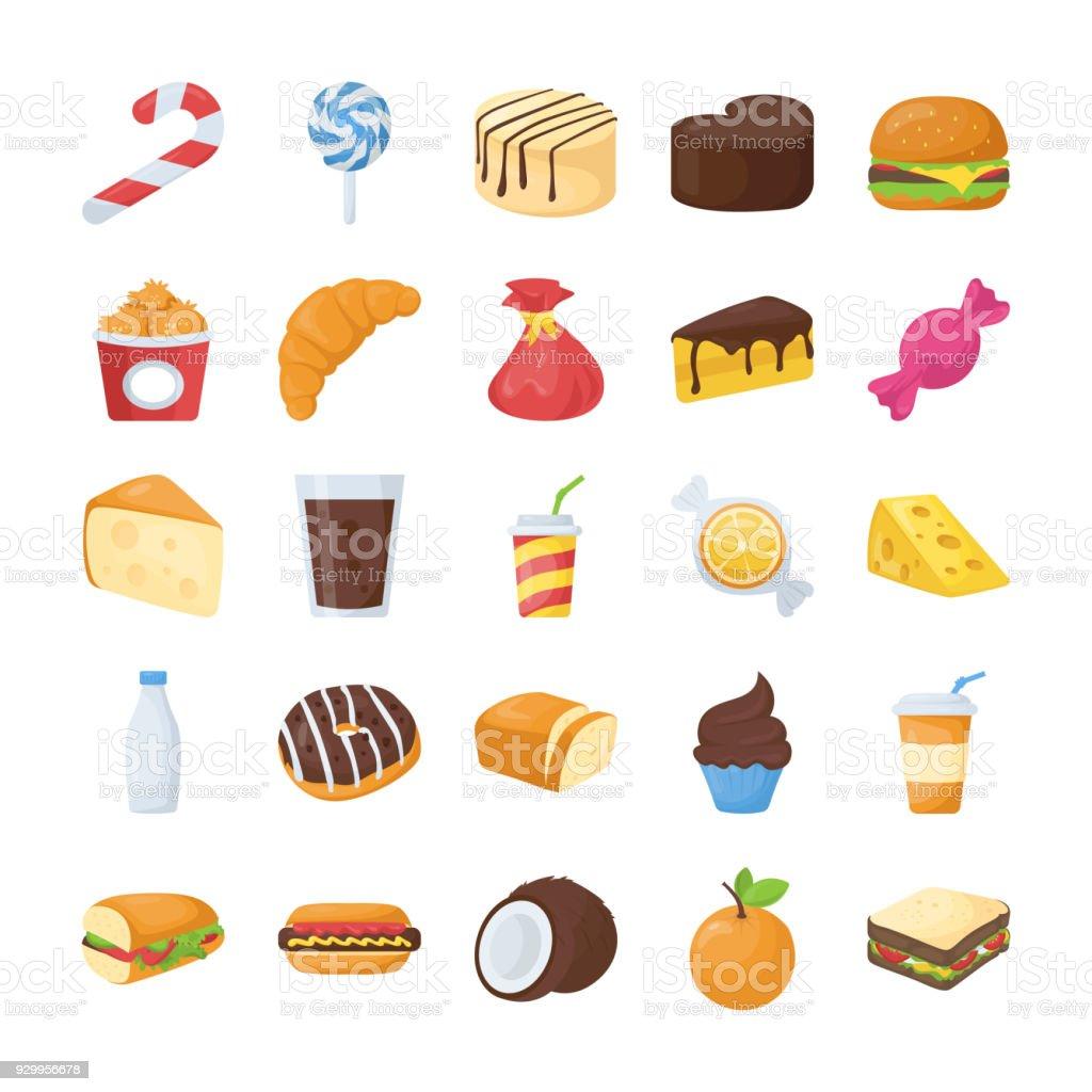 Nourriture et boissons icônes plats - Illustration vectorielle