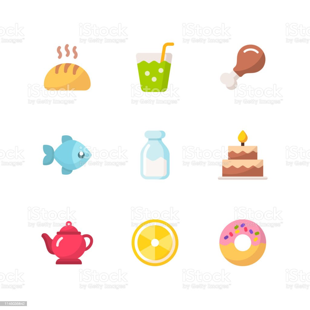 9 Food and Drinks Flat Vector Icons.