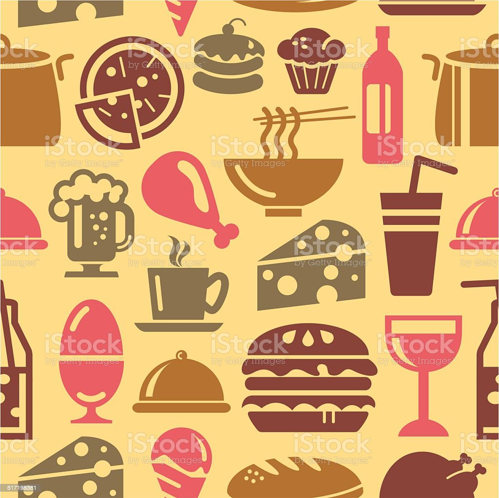 Food and Drinks Icons in Seamless Background vector art illustration