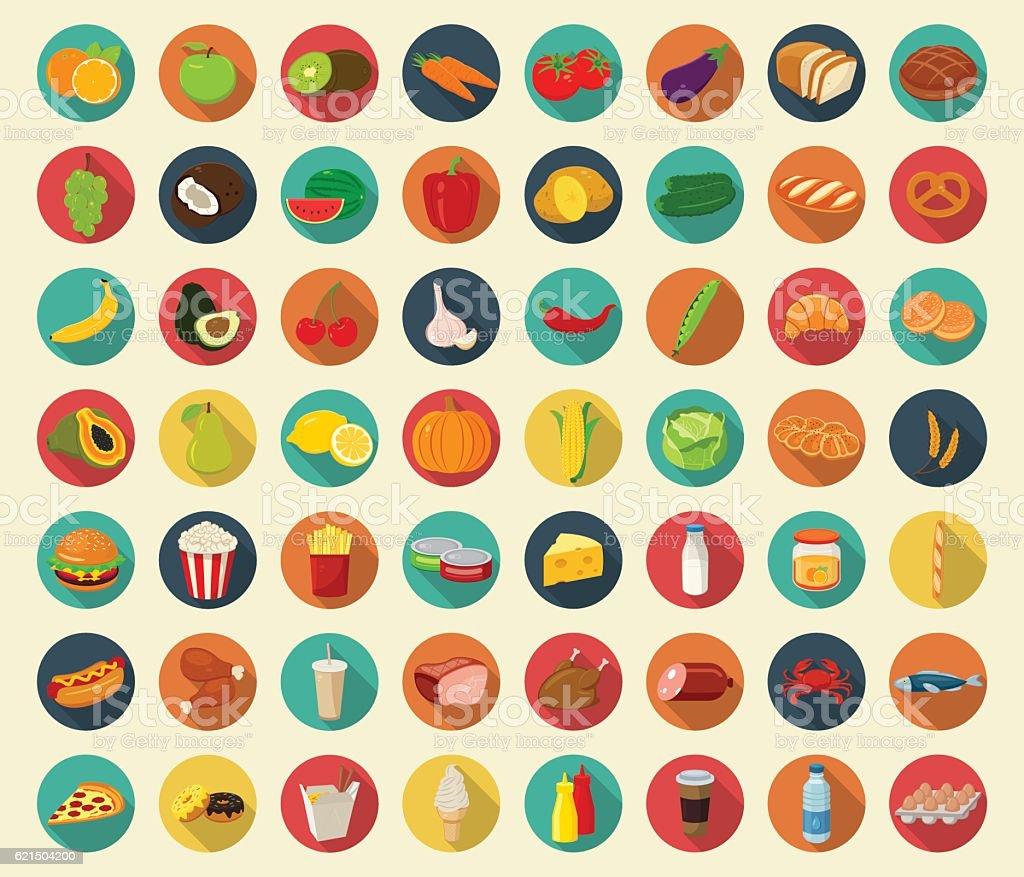 Ensemble d'icônes de nourriture et de boissons. Icônes plat. Vectoriel ensemble dicônes de nourriture et de boissons icônes plat vectoriel – cliparts vectoriels et plus d'images de affaires libre de droits