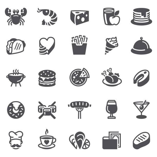 essen und getränke-symbole - lachskuchen stock-grafiken, -clipart, -cartoons und -symbole