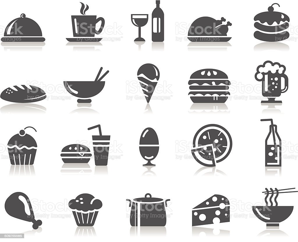 Food and Drinks Icons vector art illustration