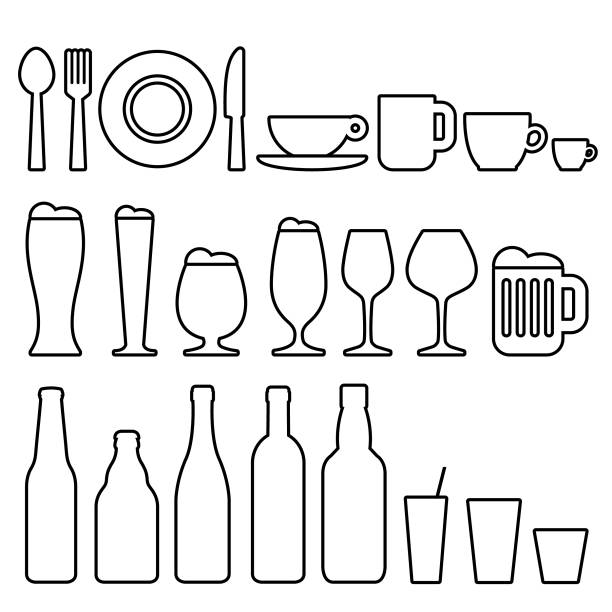 stockillustraties, clipart, cartoons en iconen met eten en drinken pictogrammen - bord serviesgoed