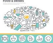 Food and drinks illustration, thin line flat design.
