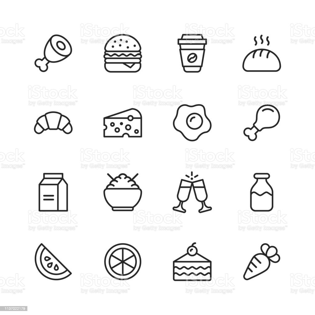 16 Food and Drinks Outline Icons.