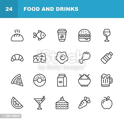 20 Food and Drinks Outline Icons.