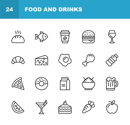 Food and Drinks Line Icons. Editable Stroke. Pixel Perfect. For Mobile and Web. Contains such icons as Bread, Wine, Hamburger, Milk, Carrot.
