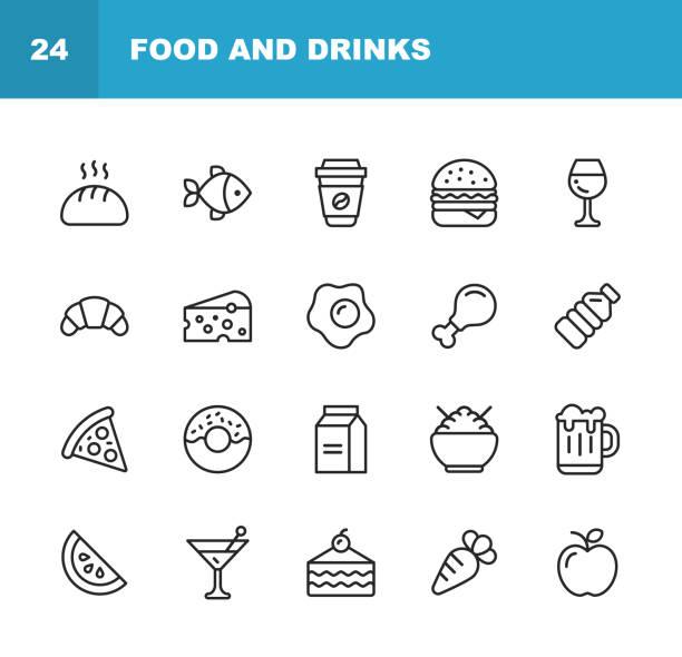ilustrações de stock, clip art, desenhos animados e ícones de food and drinks line icons. editable stroke. pixel perfect. for mobile and web. contains such icons as bread, wine, hamburger, milk, carrot. - queijo