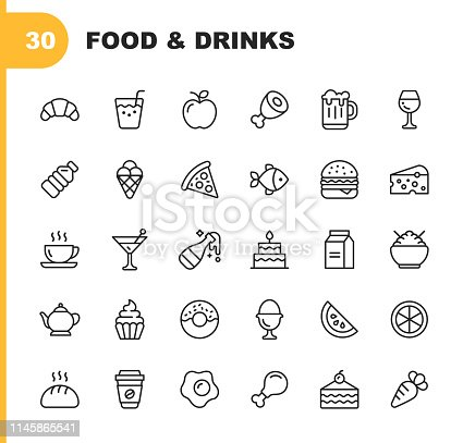 30 Food and Drinks Outline Icons.