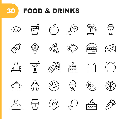 Food and Drinks Line Icons. Editable Stroke. Pixel Perfect. For Mobile and Web. Contains such icons as Bread, Wine, Hamburger, Milk, Carrot, Fruit, Vegetable. clipart