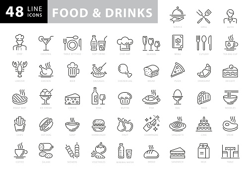 Food and Drinks Line Icons. Editable Stroke. Pixel Perfect. For Mobile and Web. Contains such icons as Bread, Wine, Hamburger, Milk, Carrot, Fruit, Vegetable