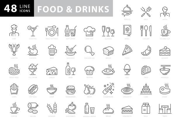 食べ物と飲み物のラインアイコン。編集可能なストローク。ピクセルパーフェクト。モバイルとウェブ用。パン、ワイン、ハンバーガー、牛乳、ニンジン、フルーツ、野菜などのアイコンが� - food and drink点のイラスト素材/クリップアート素材/マンガ素材/アイコン素材